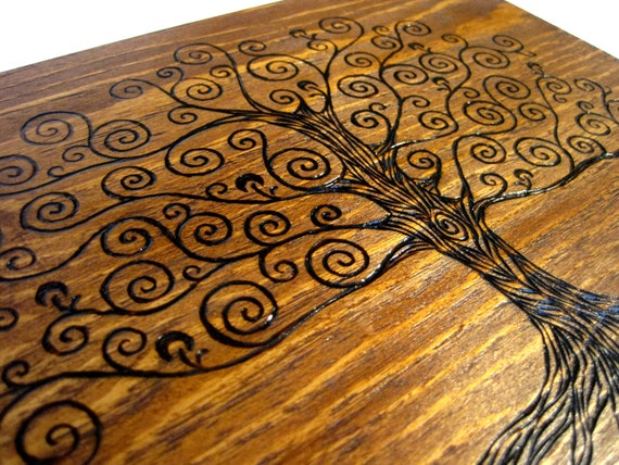 Tree of Life Memory Box with Brass Accents - AVAILABLE NOW - Handcrafted, Woodburned, Fully customized for you.