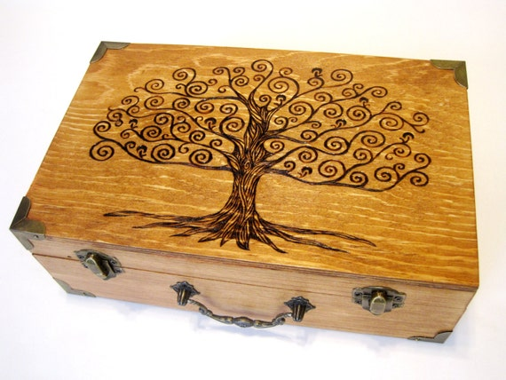 Tree of Life Memory Box (Small) with Brass Accents - Handcrafted, Woodburned, Fully Customized for you.