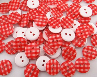 50 Red and White Plaid Design Buttons for Sewing, crafts, embellishments, scrapbooking and more, button size 13mm
