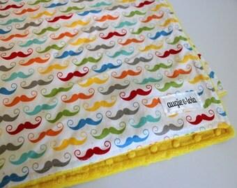 Mustache Baby Blanket, Colorful Mustache Baby Blanket, Minky Blanket, Handmade Baby Blanket, Augie and Lola Blanket