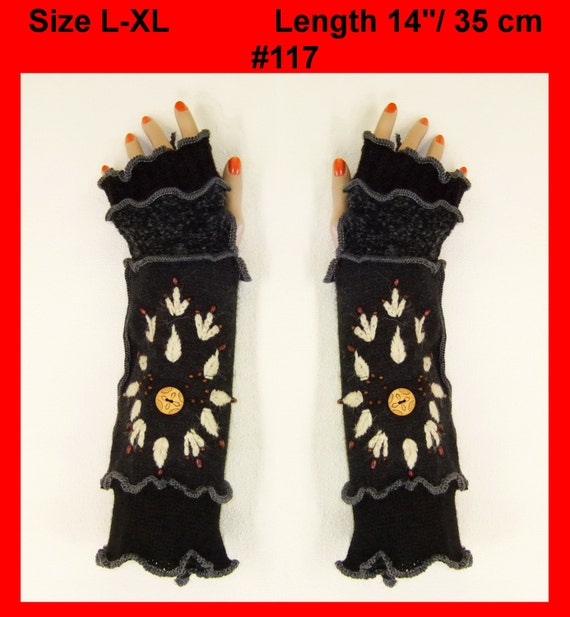 Arm warmers, L-XL, Fingerless, Gloves, women, patchwork, Cosplay, Gift, mittens, embroidered, knit, Eco Friendly