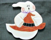 halloween, ghost, witch's hat, ornament, magnet, handpainted, wood