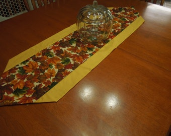 Handmade Fall Harvest Leaf table runner with gold harvest colors for fall, thanksgiving, Autumn, home decor by MarlenesAttic