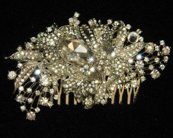 Vintage floral  inspired crystal tiara side hair comb