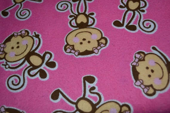 Pink monkey pretty bows snuggle flannel fabric by the yard for Baby monkey fabric prints