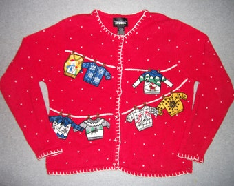 Ugly Christmas Sweaters Hanging Out To Dry Sweater Button Up Tacky Gaudy X-Mas Party S Small