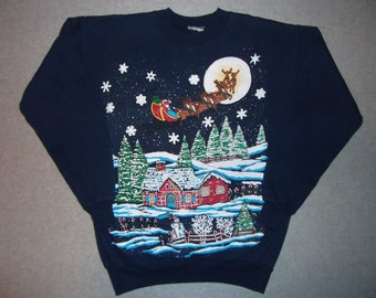 Happy Christmas To All, And To All a Good Night Sweatshirt Merry Santa Claus Reindeer Winter Tacky Gaudy Ugly X-Mas Party S Small M Medium
