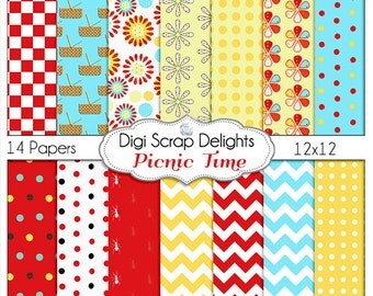 Picnic Digital Papers,  Red, Aqua, Yellow, Ants, Basket, Teachers, Crafts, Cards, Instant Download, DIY Party
