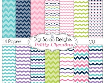 Pretty Chevrons Digital Papers Pink, Purple, Blue, Green for Scrapbooking, Card Making, Photo Backgrounds