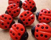 large red and black ladybug shank buttons--lot of 8