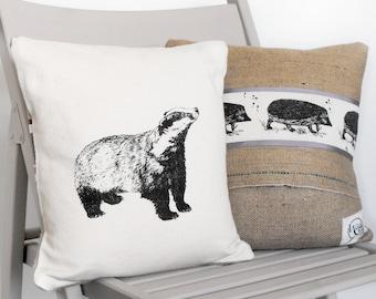 Badger and Hedgehog Cushion