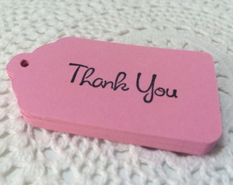 Pink Thank You Tags Wedding Bridal Baby Shower Favor Label - Set of 25 Carnation Pink Tags
