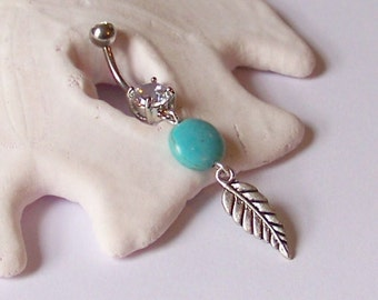 Belly Button Ring - Piercing - Curved Barbell - Navel Piercing - Tibetan Silver Leaf Charm with Magnesite Cion