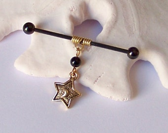 Industrial Barbell - Brass Wire Wrap With Black Onyx and Gold Star Charm Industrial Barbell Piercing