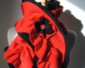 Double Ruffle Scarf  'BLACK CHERRY' Fleece Scarf with Flower Detail