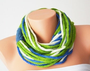 SCARF- wool chain necklace - Infinity Scarf ,Noodle Scarves Fashion Neckwarmer Circle Necklace Chunky Cowl green blue beige