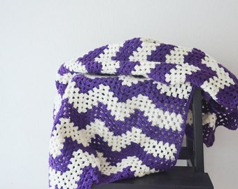 "39"" x 50"" Purple and cream striped zig-zag chevron blanket, Granny Square , afghan,lap blanket,multicolor stripes, honeymoon"