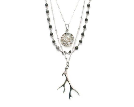 Antler necklace. Grey and silver  necklace with white druzy, labradorite, and antler. Trilogy. NL-881