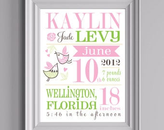"Customized Birth Announcement Nursery Print - Little Birdie - 8""x10"" - LOVELY LITTLE PARTY"