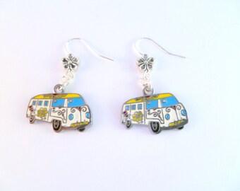 VW Bay Hippy Camper Van Earrings