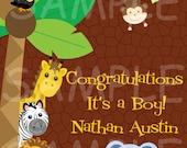 Jungle Safari Animals Baby Shower Cake Topper - 1/4 sheet Custom Design