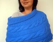 SALE Cabled Turcoise Blue Capelet Super soft Mixed wool Cape Woman Capelet