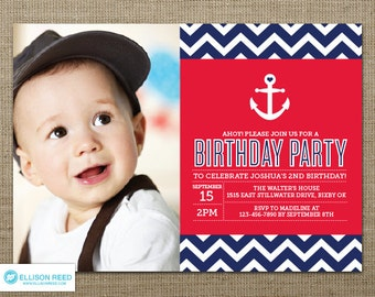Nautical Birthday Invitation - Nautical Printable - Anchor invitation - Chevron invitation - Boy Birthday - First Birthday invitation