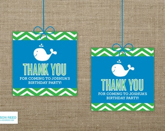 Chevron Whale Favor Tags - Whale Printable - Nautical Printable - 1st Birthday - 2nd Birthday - Boy Birthday - Girl Birthday - deocrations