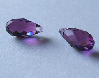 2 SWAROVSKI 6010 Briolette Crystal Beads 11mm AMETHYST