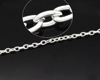 32 feet Silver Plated Chain 4x3mm - Ships from USA, Wholesale Chain, Wholesale Supplies, Bulk Chain, Silver Plated Wholesale Chain - CH15
