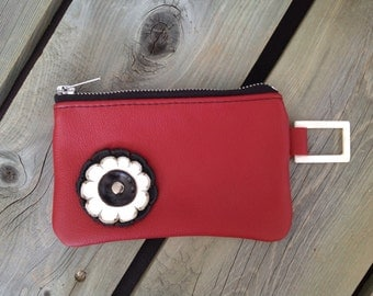 "Red Leather ""Finglet"" Purse & Black/White Flower- Soft Leather Purse - One Of A Kind - Handmade - Gifts for Her"
