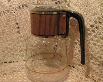 Vintage Cory Coffee Pot Server with Wood Grain Detail, Coffee Carafe