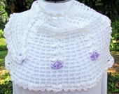 Flowered Crescent Shawl Scarf crochet white and lavendar lace wrap handmade shawlette