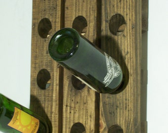 Studio Wine Rack Distressed Wood Antique French Style Mini Winerack Wall Hanging