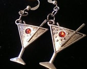 1 Pair Red Martini Glass Earrings Tibetan Silver or YOU CHOOSE ACCENT 21st Birthday Happy New Year Bachelorette Party Rhinestone