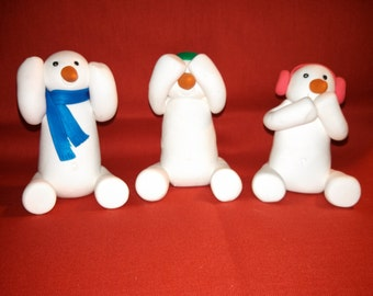 Polymer clay - Snowman see no evil, hear no evil, speak no evil