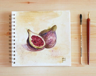 Figs kitchen illustration in purple green fine art print