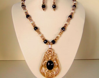 Gorgeous Pendant Necklace Baroque Gold Filigree Garnet Birthstone Freshwater Pearls Exquisite Statement Necklace Dazzling Lux Gift for Her