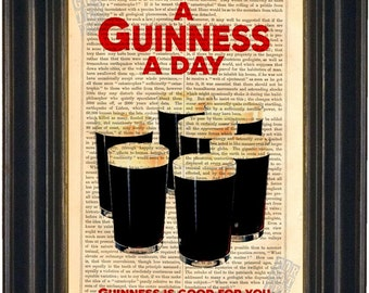 A Guinness A Day  Dublin Ireland mixed media  Print on repurposed vintage 1880's book page mixed media