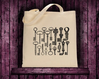 Tote eco shopping bag with Antique Key Collection Print purse shoulder bag
