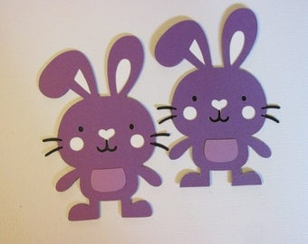"""5 Bunny die cuts, 5 paper die cuts, 4"""" Rabbits/Easter bunnies"""