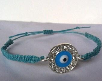 Turquoise Eye CZ Connector Macrame Bracelet