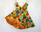 Orange flowers cats reversible baby dress 18-36 months with with wide leg bloomers Amy Schimler prints