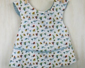 pinafore blue bird print  smock apron cover-up tunic One size fits toddlers  art craft cooking ballet swim preschool class