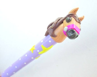 Pony Crochet Hook- handmade polymer grip on Susan Bates size G