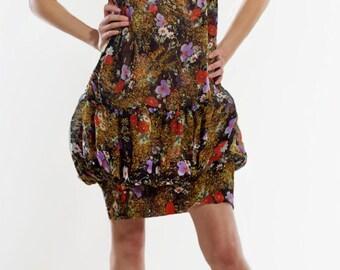 Floral print silk chiffon double layered strap dress