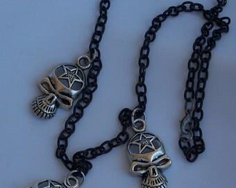 Tibetan Skull Charm Necklace Black Chain Goth Punk Alt Emo Headbanger Skulls Charms Jewelry