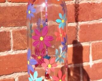 Handpainted wine bottle windchime