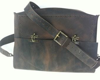 Leather CrossBody Messenger Handbag/Rustic Brown Bag/Rustic Brown Leather Messenger Bag,Leather Satchel Bag Gifts for Men