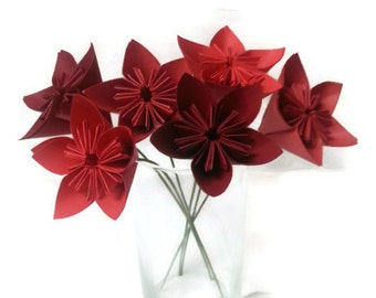 """Bouquet """"Ombre Reds"""" OOAK Origami Paper Flowers - Free ship (domestic U.S.)!"""